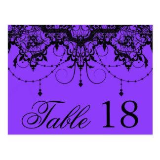 Viktorianische Spitze-lila Tischnummer-Postkarte