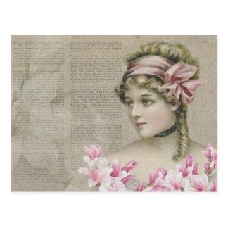 Viktorianische Steampunk Dame Pink Newspaper Postkarte