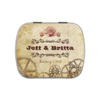 Viktorianische Steampunk Hochzeits-Süßigkeit Jelly Belly Dose
