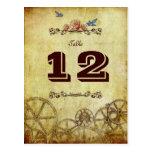 Viktorianische Steampunk Wedding Tischnummer Postkarten
