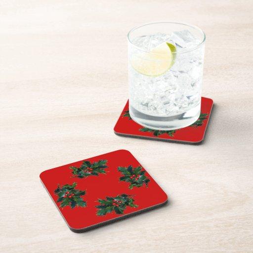 Viktorianische Stechpalmen-rotes Beeren-Weihnachte Getränke Untersetzer