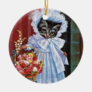 Viktorianische Tabby-Katzen-Verzierung Rundes Keramik Ornament