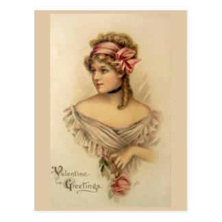 Viktorianische Valentine-Gruß-Vintage Postkarte