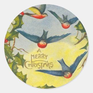 Viktorianische Vogel-Weihnachtsaufkleber Runder Aufkleber