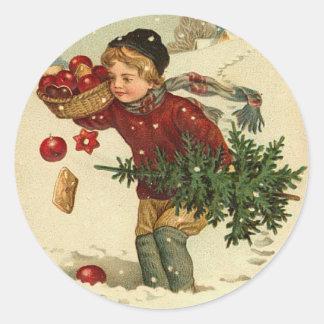 Viktorianische Weihnachtsaufkleber für Ihre Karten Runder Sticker