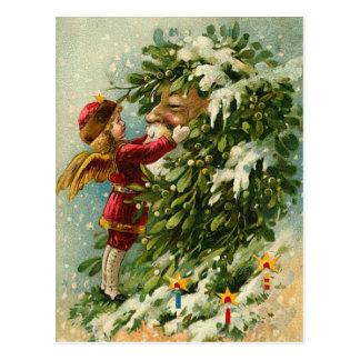 Viktorianische WeihnachtsFee und -sankt Postkarte
