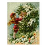 Viktorianische WeihnachtsFee und -sankt Postkarten