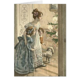 Viktorianische Weihnachtskarte - Familie Karte