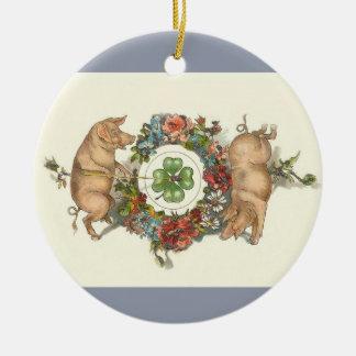 Viktorianische Weihnachtsverzierung - zwei Keramik Ornament