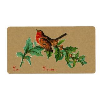 Viktorianische Weihnachtsvogel-Aufkleber
