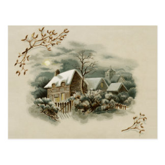 Viktorianische Winter-Szene Postkarte