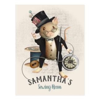 Viktorianische wütende Hutmacher-Mäusenähender Postkarte