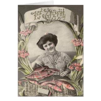 Viktorianischen Frauen-FischePoisson d'avril Grußkarte