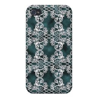 Viktorianischer Aquamarin-Türkis iPhone 4 Schutzhülle