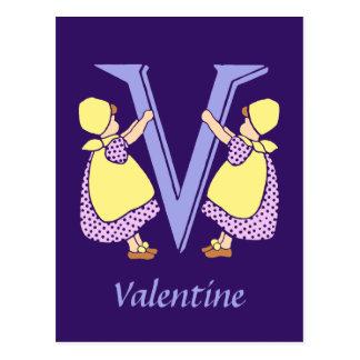 Viktorianischer Buchstabe V mit 2 niedlichen Postkarte
