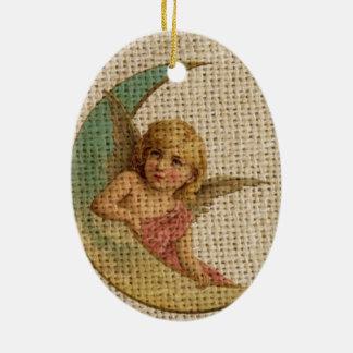 Viktorianischer Engel des sichelförmigen Mondes Keramik Ornament