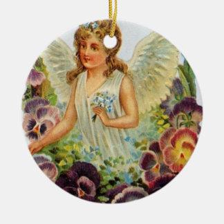 Viktorianischer Engels-runde Verzierung Rundes Keramik Ornament