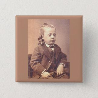 Viktorianischer Junge mit unglücklicher Haarart Quadratischer Button 5,1 Cm