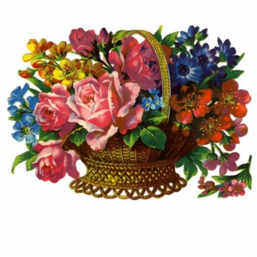 Viktorianischer Korb des Blumen-Fotos… Ausschnitte