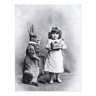 Viktorianischer Osterhase mit Mädchen Postkarten