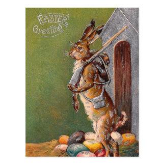Viktorianischer Osterhasen-Schutz PC Postkarten