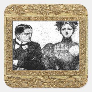 Viktorianischer Paar-Aufkleber Quadratischer Aufkleber