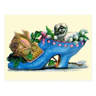 Viktorianischer Pantoffel mit Welpen und Rose Postkarte
