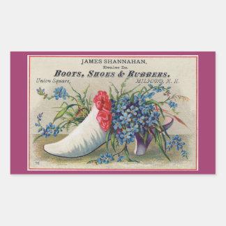 Viktorianischer Schuh-Aufkleber Rechteckiger Aufkleber