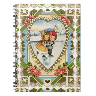 Viktorianischer Valentine mit Mädchen-und Notizblock