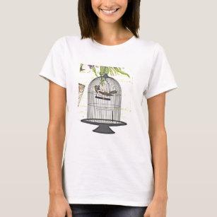 5b96feee3bf9ec Viktorianischer Vogel in Käfig eingesperrtem T-Shirt