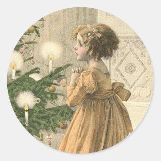 Viktorianischer Weihnachtsaufkleber Runder Aufkleber