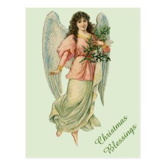 Viktorianischer Weihnachtsengels-Vintage Postkarte