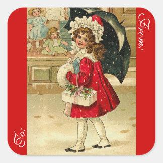 Viktorianischer Weihnachtsgeschenk-Umbau Quadratischer Aufkleber