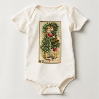 Viktorianischer Weihnachtskuss-Retro Vintager Baby Strampler