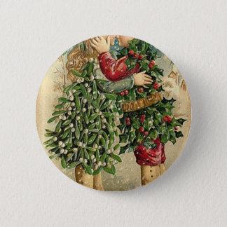 Viktorianischer Weihnachtskuss-Retro Vintager Runder Button 5,7 Cm