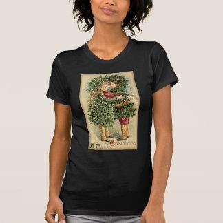 Viktorianischer Weihnachtskuss-Retro Vintager T-Shirt