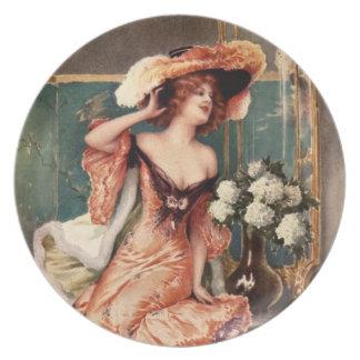 Viktorianisches Button herauf Flache Teller