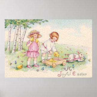 Viktorianisches Kinderostern-Küken-Häschen-Feld Poster