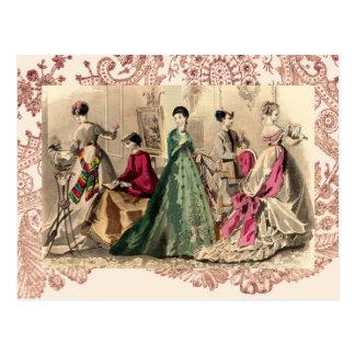 Viktorianisches Kleid mit rosa Bogen Postkarte