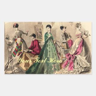 Viktorianisches Kleid mit rosa Bogen Rechteckiger Aufkleber
