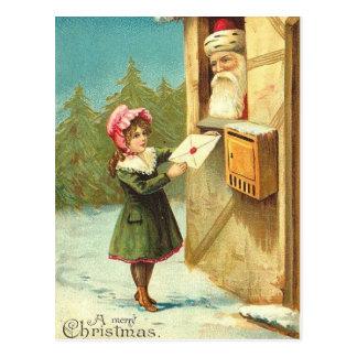 Viktorianisches Mädchen, das ihren Brief zu Sankt Postkarte