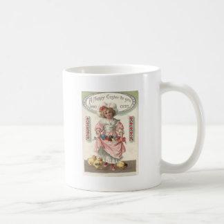 Viktorianisches Mädchen gemalte farbige Kaffeetasse