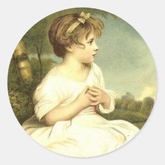 Viktorianisches Mädchen im Garten-Aufkleber-Siegel Runder Aufkleber