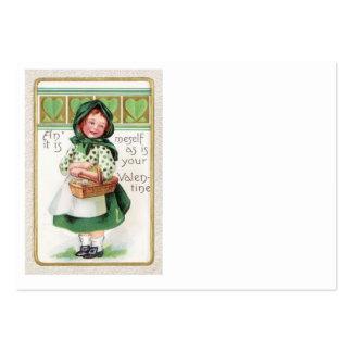 Viktorianisches Mädchen-Korb-Herz Mini-Visitenkarten