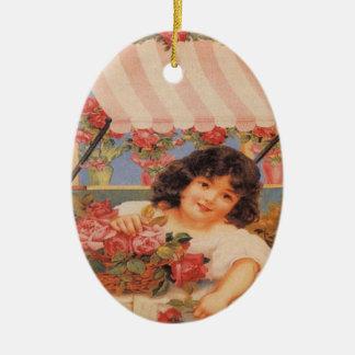 Viktorianisches Mädchen mit Blumen-Oval-Verzierung Ovales Keramik Ornament