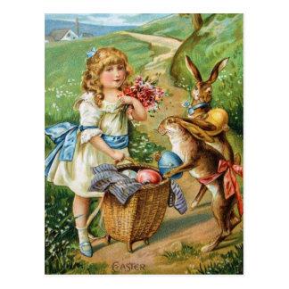 Viktorianisches Mädchen mit Osterhasen-u. Postkarte