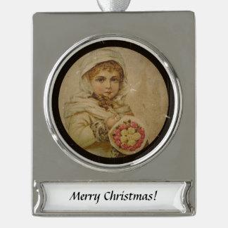 Viktorianisches Mädchen mit Rosen Banner-Ornament Silber