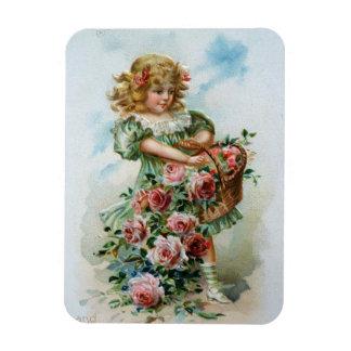 Viktorianisches Mädchen mit Rosen Magnet