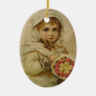 Viktorianisches Mädchen mit Rosen Ovales Keramik Ornament