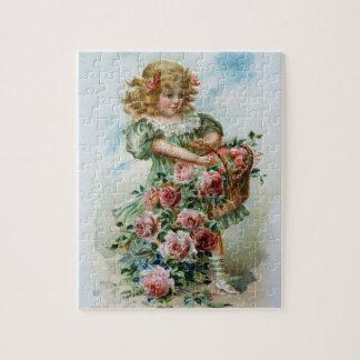 Viktorianisches Mädchen mit Rosen-Puzzlespiel Puzzle